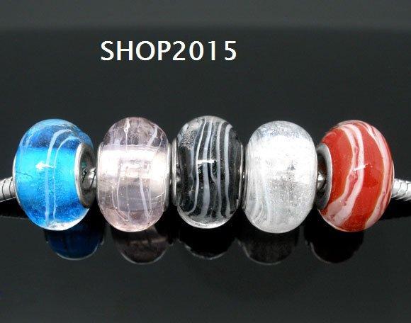 5 mix  perle a  foro largo in vetro 14x9 mm