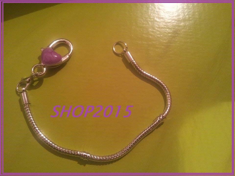 bracciale snake  19 cm per perle a foro largo con moschettone grande smaltato VIOLA