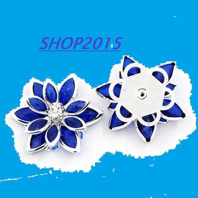 Cabochon Decorazione a fiore con Strass blu 2,3 cm