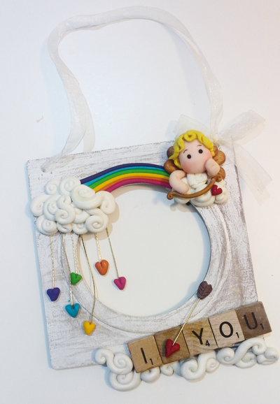 quadretto decorativo - portafoto shabby chic - Cupido...san valentino!