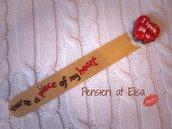 Segnalibro in legno San Valentino biscotto a forma di cuore