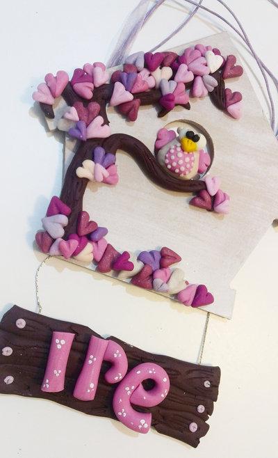 targhetta decorativa in rosa con nome personalizzato camera bambina