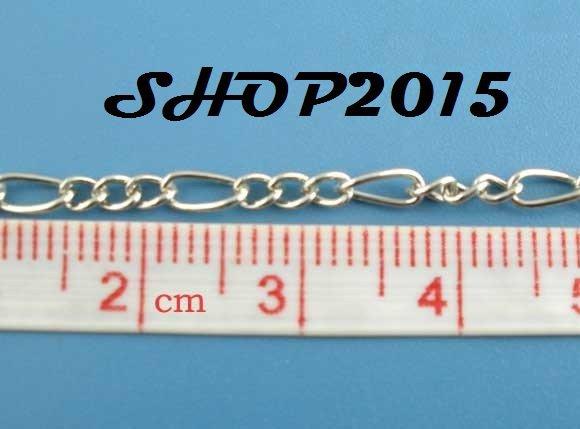 50 cm  catena catenella,  Argento scuro 5mmx3mm 3mmx2.5mm maglia alternate