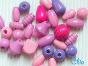 lotto 28 perle legno lilla rosa violetto fucsia