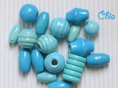 lotto 15 perle legno celeste turchese