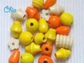 lotto 22 perle legno giallo arancio panna