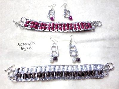 Parure braccialetti e orecchini colorati con linguette di lattine