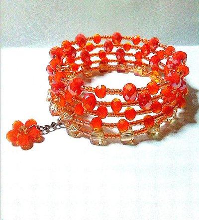 bracciale memory con cristalli arancio