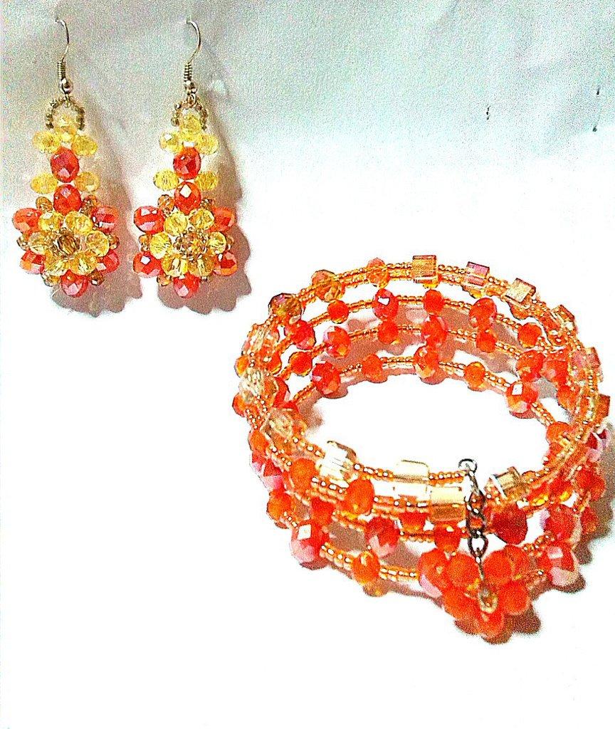 """orecchini """"fior di cristallo""""arancio e bracciale"""