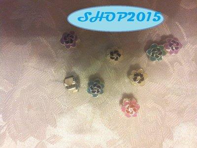 8 mix  perle a  foro largo in metallo smaltato a fiore foro 4,5 mm  unico lotto