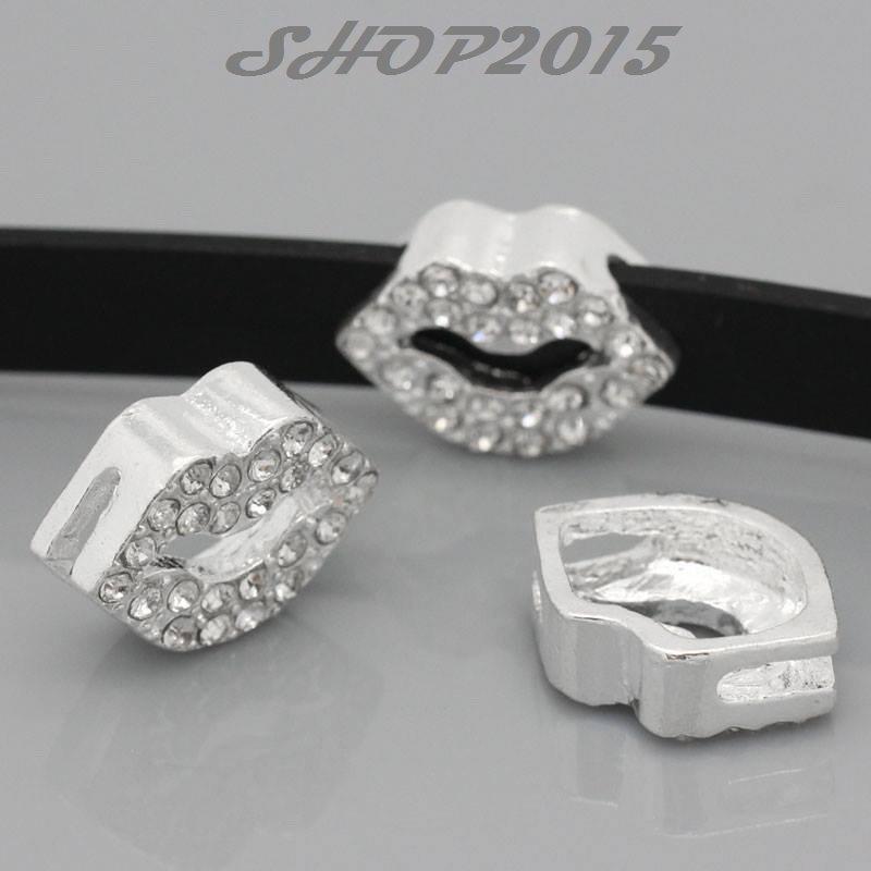 perla, charms labbra 17×13 mm  con strass adatto a bracciale per cinturino
