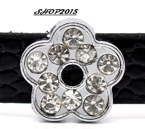 perla, charms fiore 12 mm  con strass adatto a bracciale per cinturino
