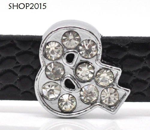 perla,  charms12x12 mm  con strass adatto a bracciale per cinturino