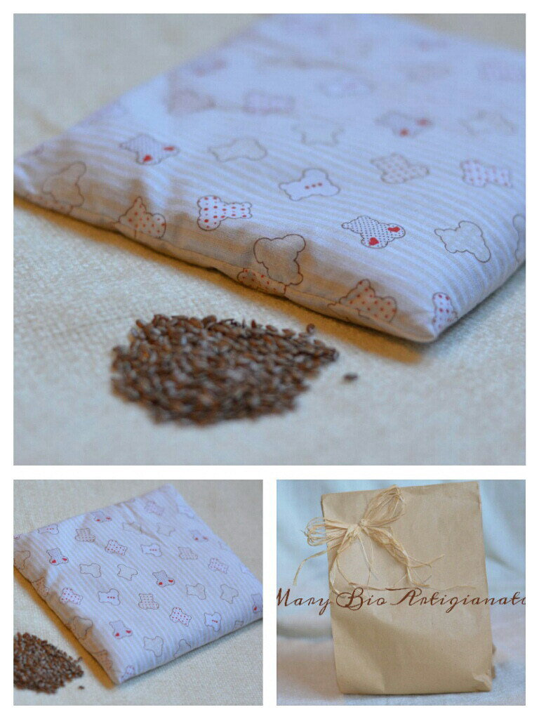 Cuscino scaldasonno in semi di lino 16 x 18 cm.