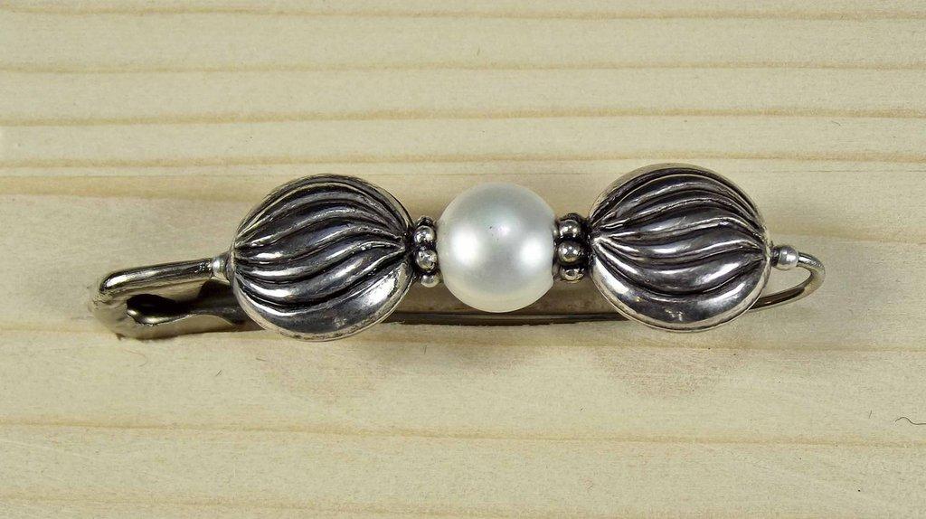 spilla perla argento
