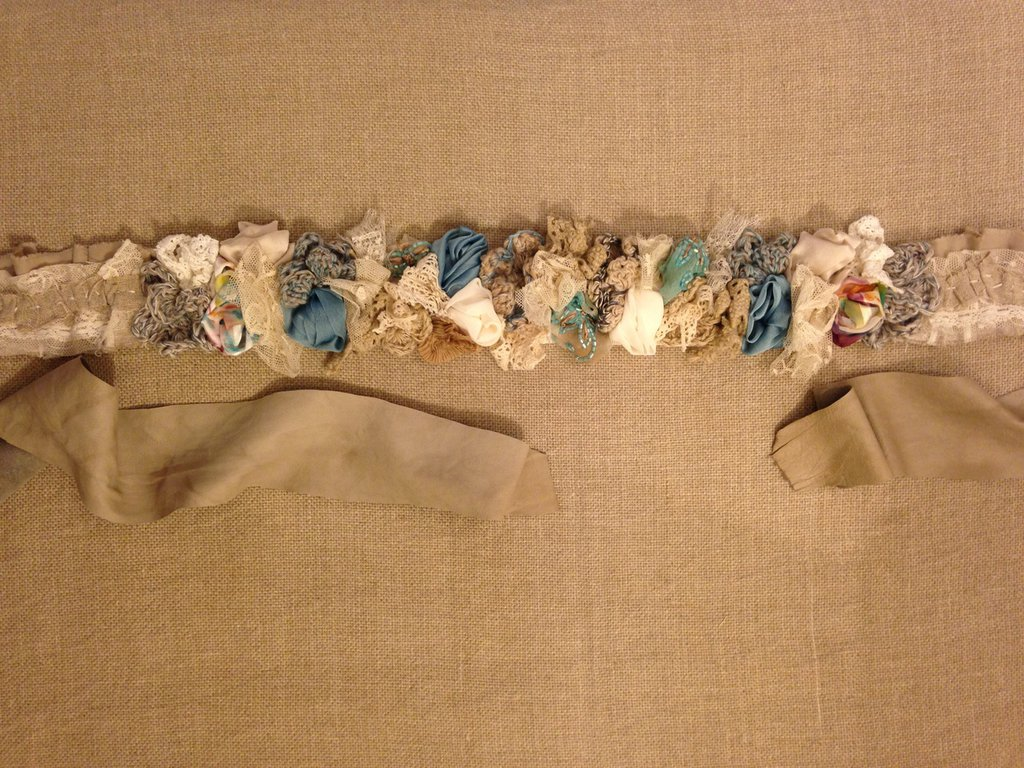 Cintura in tessuto e pelle