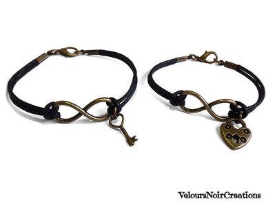 Coppia bracciali infinito lucchetto e chiave in bronzo vintage regalo innamorati