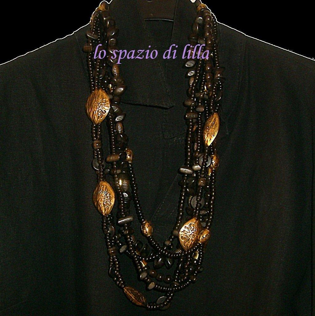Collana intreccio in legno e metallo