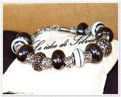 Bracciale in acciaio con perle a foro largo