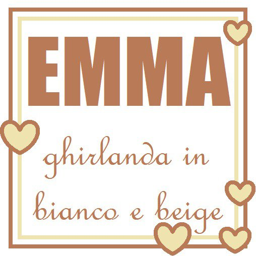 Emma: ghirlanda beige e bianca con lettere di stoffa imbottite che decorano la cameretta!