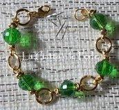 Bracciale con Mezzi Cristalli verdi