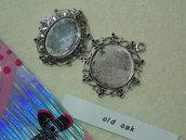 Medaglione ovale per cabochon in argento antico mm.37x30