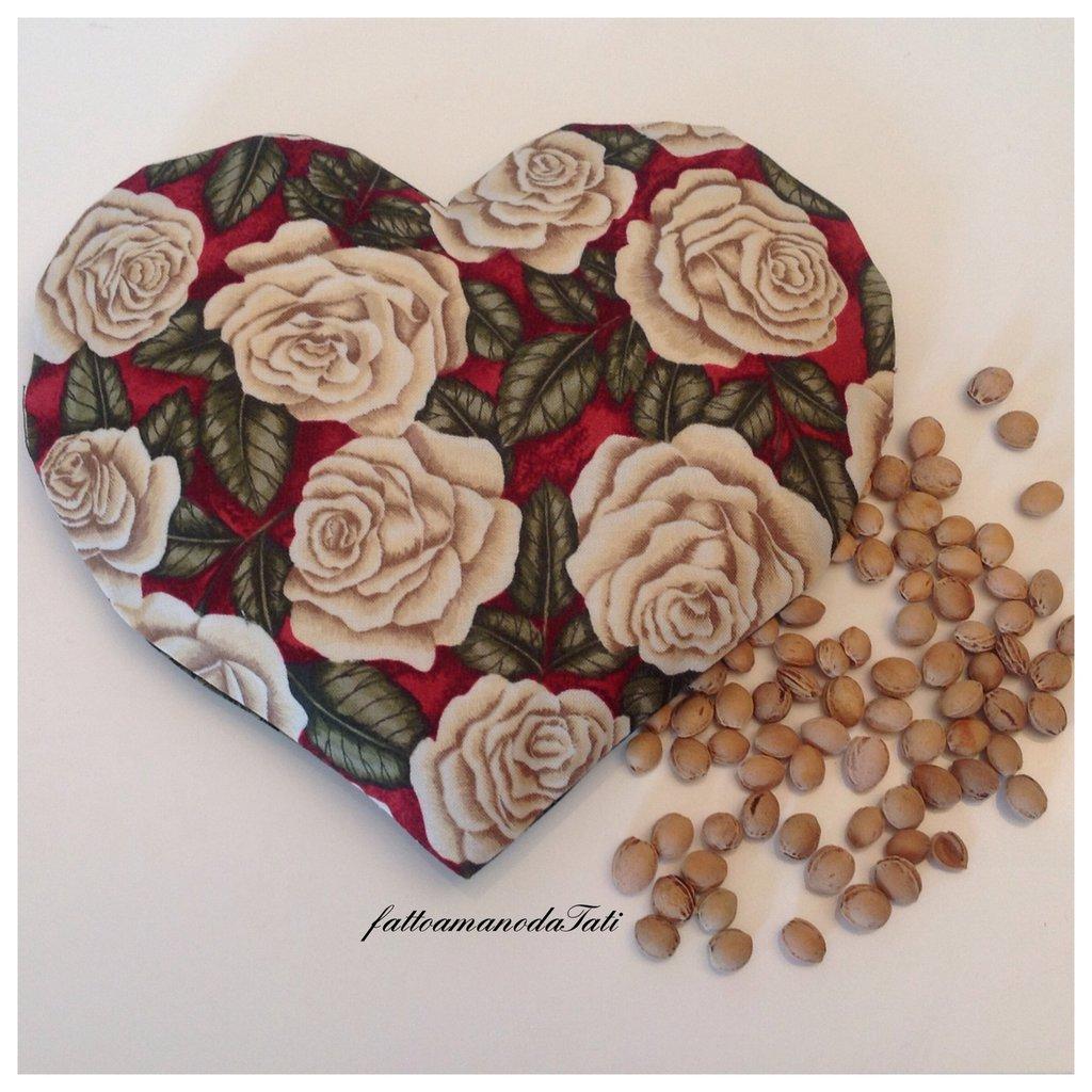 Cuscinetto termoterapico a forma di cuore in cotone con rose
