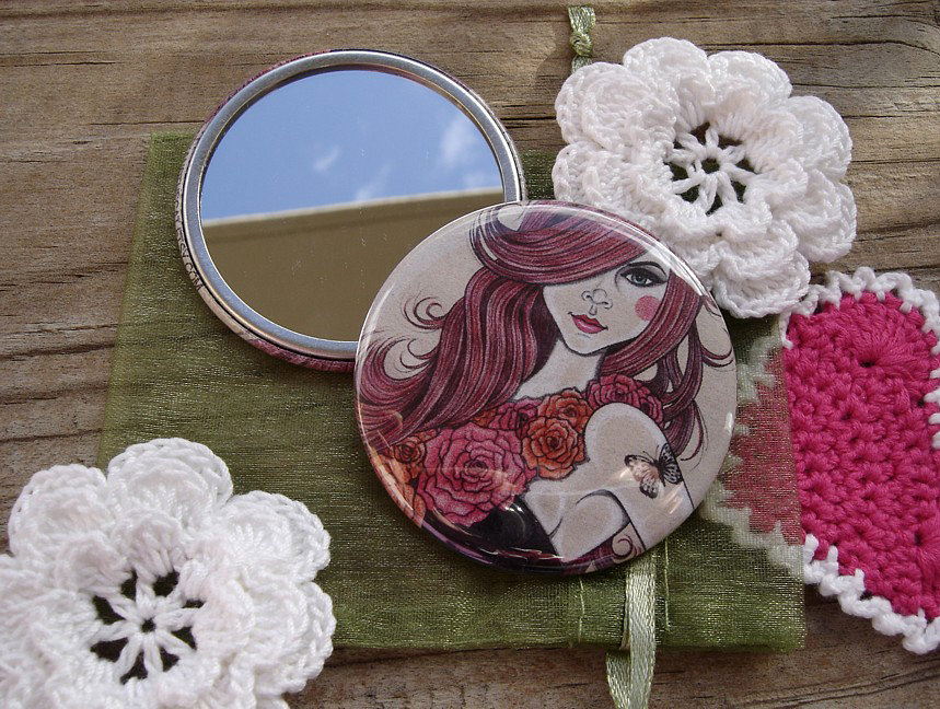 Specchietto-Rose Red-pocket mirror 2.25 inch (5.6cm)