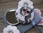 Specchietto-Katrina-Dia de los muertos-pocket mirror 2.25 inch (5.6cm)