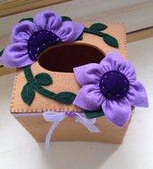 scatola in feltro porta box per fazzoletti di carta quadrata con fiore viola