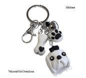 Portachiavi cane bianco maltese osso e orma zampa