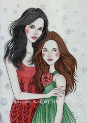 Red Rose and Snow White-Original Fine Art Drawing-disegno originale, ispirazione fiabesca