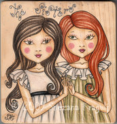 Sisters on wood-Original Fine Art Drawing-disegno originale sul legno