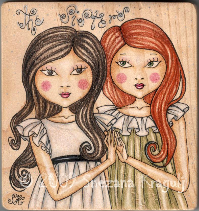 Sisters on wood-Original Fine Art Drawing-disegno originale sul legno