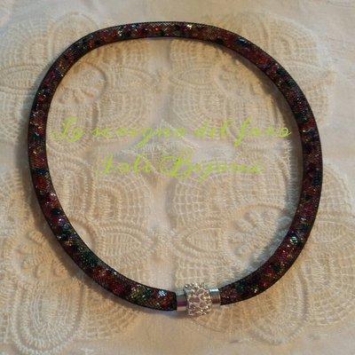 Collana rete tubolare stile Stardust multicolor