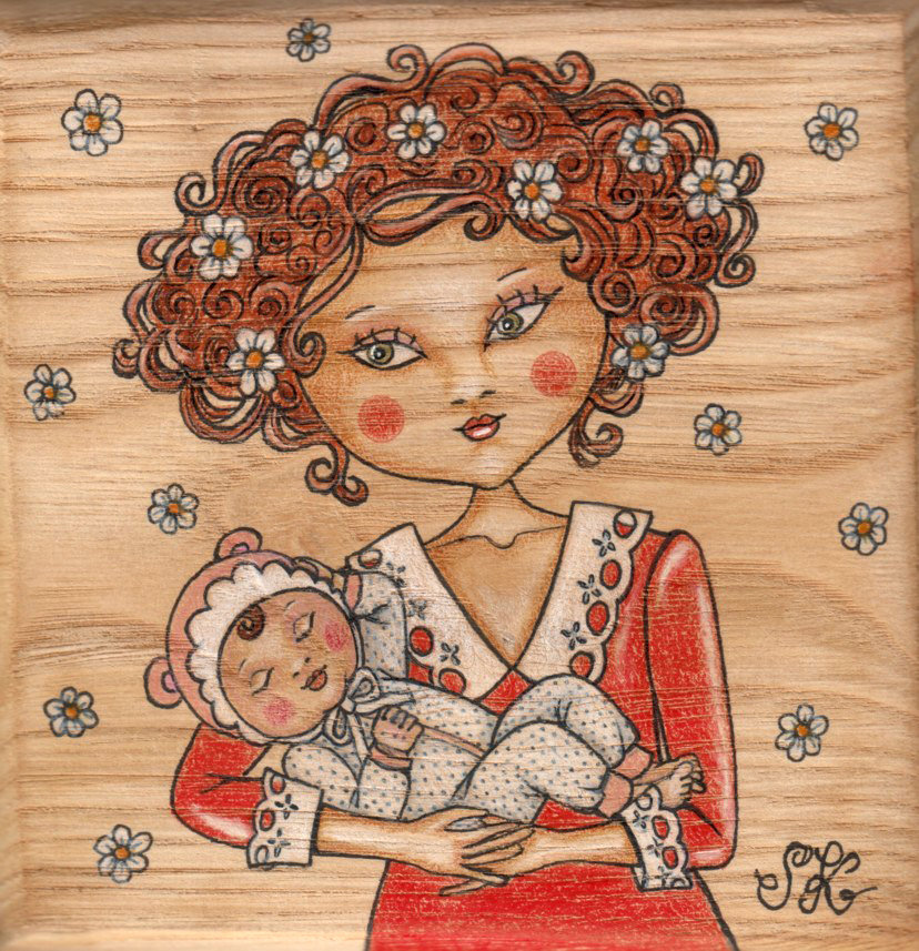New born on wood-Original Fine Art Drawing-disegno originale sul legno
