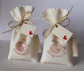 Sacchetti porta confetti in cotone con adorabile riccio - SU ORDINAZIONE