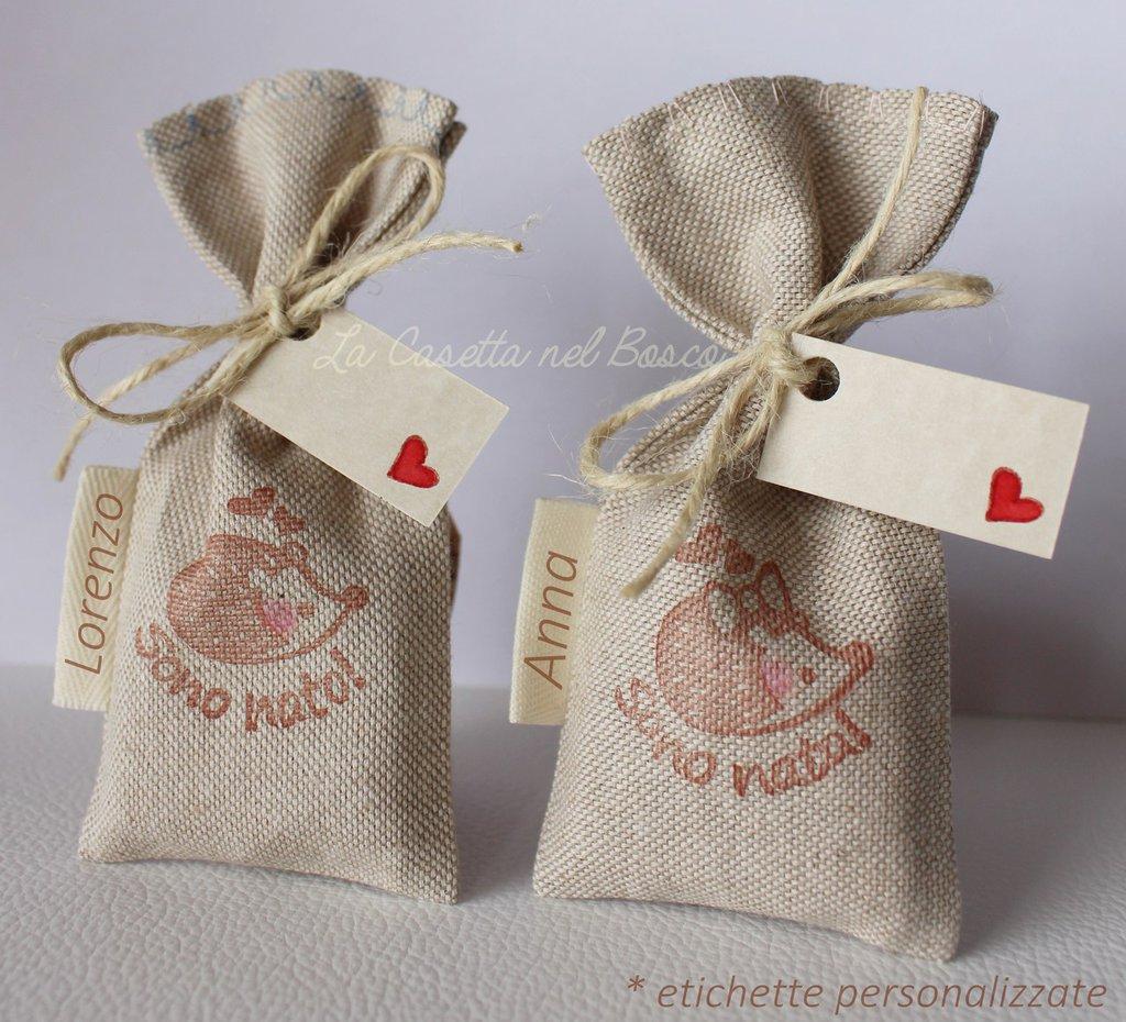 Sacchetti porta confetti in cotone misto lino con adorabile riccio - SU ORDINAZIONE