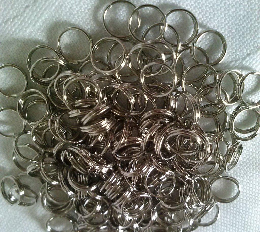 50 anellini in metallo a doppio giro da mm. 6  - hobby bigiotteria