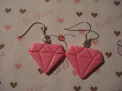 orecchini diamante fimo rosa
