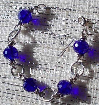 Bracciale con Mezzi Cristalli Blu Cobalto
