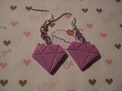 orecchini diamante fimo viola