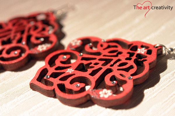 """Orecchini """"Arabesque rosso decorato_medium"""""""