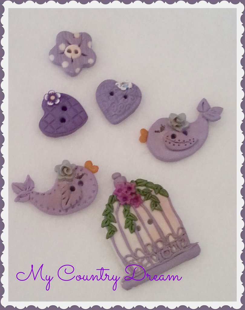 "Bottoni artigianali ""Sweet Bird"" set of 6 pcs."