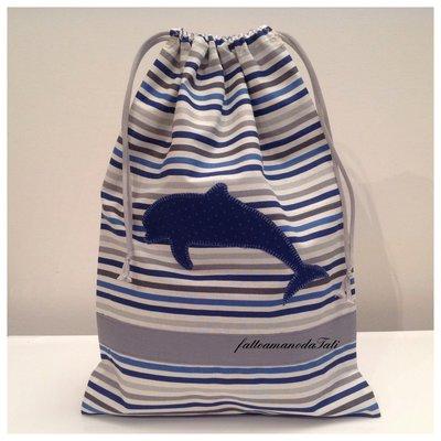 Sacchetto asilo in cotone a righe con appliquè delfino