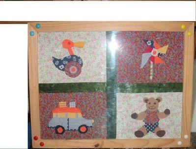 Quadretto collage in tessuto