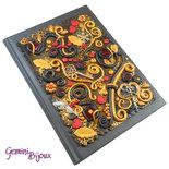 Notebook con cover preziosa in fimo, formato A5 nero oro e rosso, pezzo unico fatto a mano.