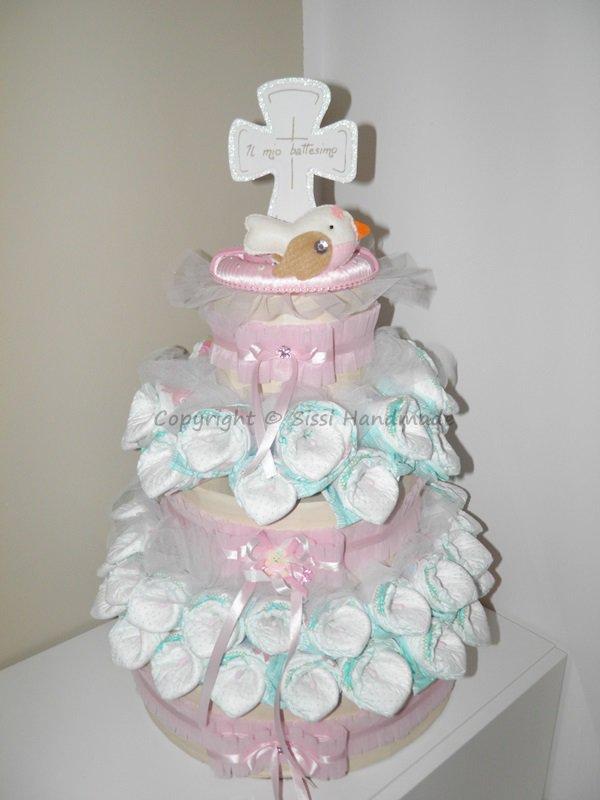 Torta pannolini per battesimo con calle e sorpresa - Oggetti design regalo ...