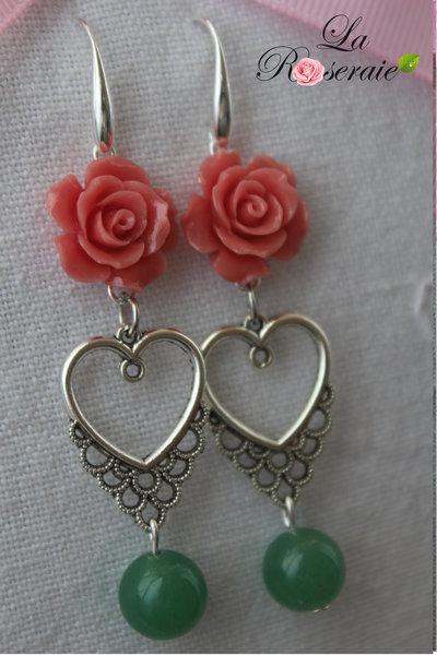 Orecchini Ambridge con rose in resina