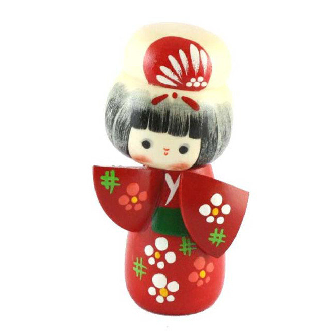 Bambola giapponese, Kokeshi Akaibeko - A490203